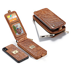 Недорогие Кейсы для iPhone-Кейс для Назначение Apple iPhone X Бумажник для карт Кошелек Защита от удара со стендом Флип Чехол Сплошной цвет Твердый Настоящая кожа