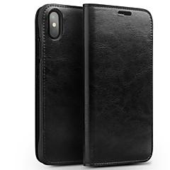 Недорогие Кейсы для iPhone-Кейс для Назначение Apple iPhone X Бумажник для карт Защита от удара Флип Чехол Сплошной цвет Твердый Настоящая кожа для iPhone X