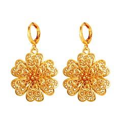 tanie Kolczyki-Damskie Kolczyki koła , Na co dzień Modny Miedź Pozłacane Kwiat Biżuteria Gold Silver Party Wieczór Studniówka Biżuteria kostiumowa