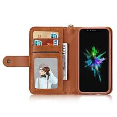 Недорогие Кейсы для iPhone 6 Plus-Кейс для Назначение Apple iPhone X iPhone 8 Бумажник для карт Кошелек Защита от удара Флип Чехол Сплошной цвет Твердый Кожа PU для iPhone