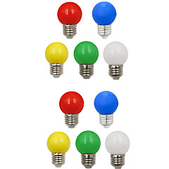 cheap LED Bulbs-10pcs 1W 100 lm E26/E27 LED Globe Bulbs G45 8 leds SMD 2835 Decorative White Green Yellow Blue Red 220-240V