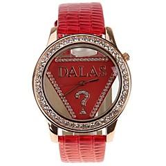 preiswerte Damenuhren-JUBAOLI Damen Quartz Modeuhr Chinesisch Armbanduhren für den Alltag Leder Band Cool Rot