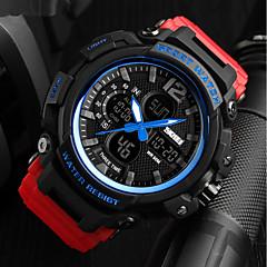 preiswerte Armbanduhren für Paare-SKMEI Herrn / Paar Militäruhr Japanisch Kalender / Wasserdicht / Stopuhr PU Band Luxus / Freizeit Schwarz / Rot / Khaki / Nachts leuchtend