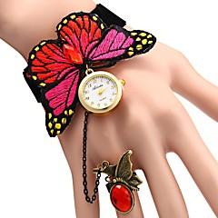 preiswerte Damenuhren-JUBAOLI Damen Quartz Armbanduhren für den Alltag Chinesisch Punk Armbanduhren für den Alltag Stoff Band Blume Rot