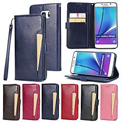 Недорогие Чехлы и кейсы для Galaxy Note 5-Кейс для Назначение SSamsung Galaxy Note 5 Бумажник для карт Кошелек со стендом Флип Чехол Сплошной цвет Твердый Кожа PU для Note 5