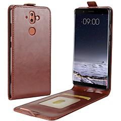 Недорогие Чехлы и кейсы для Nokia-Кейс для Назначение Nokia Nokia 9 Nokia 6 2018 Бумажник для карт Флип Чехол Однотонный Твердый Кожа PU для Nokia 9 Nokia 8 Nokia 7 Plus