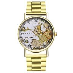 お買い得  メンズ腕時計-男性用 クロノグラフ付き 大きめ文字盤 ステンレス バンド ハンズ 世界地図柄 旅行用地図 ゴールド - ゴールド 1年間 電池寿命 / SSUO LR626