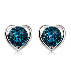 preiswerte Ohrringe-Damen Blau Kristall Klassisch Ohrstecker - Herz Modisch Modern Elegant Schmuck Dunkelmarine Für Normal Formal 2pcs