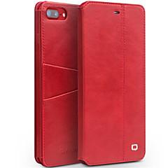 Недорогие Кейсы для iPhone-Кейс для Назначение Apple iPhone 7 Plus iPhone 7 Бумажник для карт Защита от удара со стендом Флип Чехол Сплошной цвет Твердый Настоящая