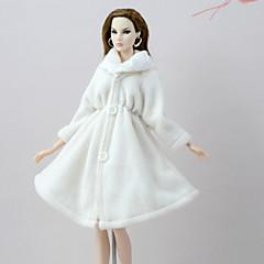 abordables Ropa para Barbies-Abrigos Chaqueta por Muñeca Barbie  Blanco Franela Vellón Chaqueta por Chica de muñeca de juguete