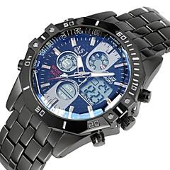 お買い得  メンズ腕時計-ASJ 男性用 スポーツウォッチ デジタルウォッチ 日本産 デジタル 50 m 耐水 アラーム カレンダー ステンレス バンド アナログ/デジタル ぜいたく ブラック - シルバー ブルー 1年間 電池寿命 / クロノグラフ付き / 夜光計 / SSUO LR626