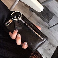 Недорогие Кейсы для iPhone-Кейс для Назначение Apple iPhone X iPhone 7 Plus Бумажник для карт Кошелек Кейс на заднюю панель Сплошной цвет Твердый Кожа PU для iPhone