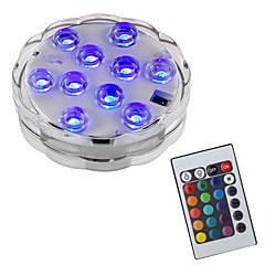 abordables Aplique para Exterior-BRELONG® 1pc 2 W Luces Bajo el Agua Impermeable / Control remoto / Decorativa RGB 5.5 V Piscina 10 Cuentas LED