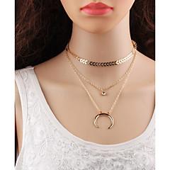 preiswerte Halsketten-Mehrschichtig Layered Ketten - Tropfen, MOON Koreanisch, Mehrlagig Gold, Silber 32.5+6 cm Modische Halsketten Für Schultaschen, Strasse