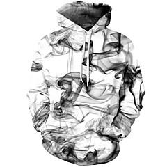 ieftine Hanorace Bărbați și Plover-Bărbați Șic Stradă / Chinoiserie Pantaloni - Geometric / #D Alb / Capișon / Manșon Lung / Toamnă