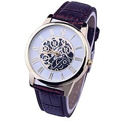 preiswerte Armbanduhren für Paare-Paar Kleideruhr Chinesisch Chronograph / Armbanduhren für den Alltag Leder Band Luxus / Retro Schwarz / Weiß / Braun