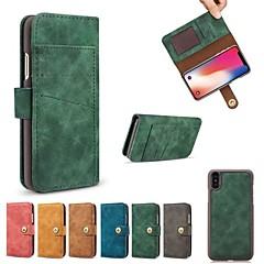 お買い得  iPhone 5S/SE ケース-ケース 用途 Apple iPhone X iPhone 8 カードホルダー ウォレット フリップ フルボディーケース ソリッド ハード PUレザー のために iPhone X iPhone 8 Plus iPhone 8 iPhone 7 Plus iPhone 7