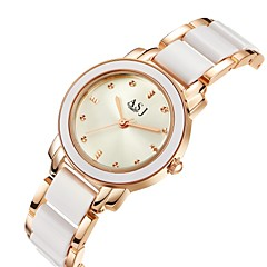 cheap Women's Watches-ASJ Women's Wrist Watch Quartz 30 m Water Resistant / Water Proof Imitation Diamond Alloy Ceramic Band Analog Luxury Casual Silver / Rose Gold - Silver Rose Gold Two Years Battery Life / SSUO 377