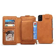 Недорогие Кейсы для iPhone 6 Plus-Кейс для Назначение Apple iPhone X iPhone 8 Бумажник для карт Кошелек Флип Магнитный Чехол Однотонный Твердый Настоящая кожа для iPhone X
