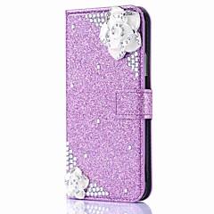 Недорогие Кейсы для iPhone 5-Кейс для Назначение Apple iPhone X iPhone 8 Plus Бумажник для карт Кошелек Стразы со стендом Флип Магнитный Чехол Цветы Сияние и блеск
