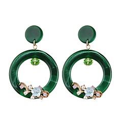 billige Hoop Øreringe-Dame Blomster Dråbe / Blomst Dråbeøreringe / Store øreringe - Blomster / Mode / Europæisk Lysegul / Rød / Grøn Geometrisk form Øreringe