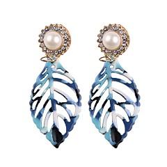preiswerte Ohrringe-Geometrisch Tropfen-Ohrringe - Blattform Asiatisch, Elegant Blau / Dunkelrot / Leichte Kaffee Für Alltag / Formal