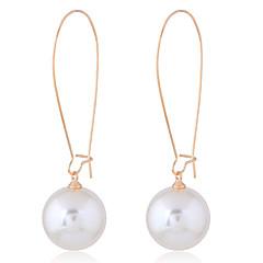 お買い得  イヤリング-女性用 人造真珠 ドロップイヤリング  -  シンプル / Elegant / ファッション ゴールド 円形 イヤリング 用途 パーティー / 日常