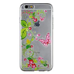 Недорогие Кейсы для iPhone 6-Кейс для Назначение Apple iPhone 8 iPhone 7 Прозрачный С узором Кейс на заднюю панель Бабочка Цветы Мягкий ТПУ для iPhone 8 Pluss iPhone