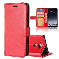 Недорогие Чехлы и кейсы для Nokia-Кейс для Назначение Nokia Nokia 7 Plus Nokia 6 2018 Бумажник для карт Кошелек Флип Магнитный Чехол Однотонный Твердый Кожа PU для Nokia 9