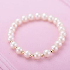 preiswerte Armbänder-Damen Perle Strang-Armbänder - vergoldet, S925 Sterling Silber, Süßwasserperle Einfach, Süß, Modisch Armbänder Weiß Für Alltag Ausgehen