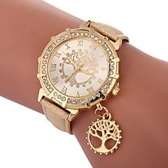 お買い得  レディース腕時計-女性用 リストウォッチ 中国 模造ダイヤモンド / 木 PU バンド カジュアル / ファッション ブラック / 白 / レッド