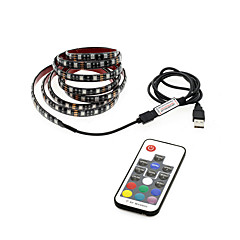 voordelige RGB-verlichtingsstrips-1m RGB-verlichtingsstrips 30 LEDs 17-Key afstandsbediening RGB USB / Waterbestendig / Achtergrond van tv Voeding Via USB 1set