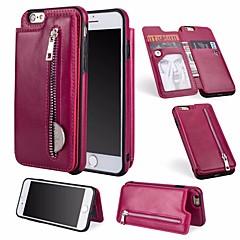 Недорогие Кейсы для iPhone 7-Кейс для Назначение Apple iPhone 6 / iPhone 7 Бумажник для карт / Кошелек / со стендом Чехол Однотонный Твердый Кожа PU для iPhone 8 /