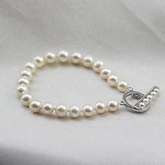 preiswerte Armbänder-Damen Perle Süßwasserperle Strang-Armbänder - Sterling Silber, Süßwasserperle damas, Einfach, Modisch, Elegant Armbänder Schmuck Weiß Für Party Geschenk