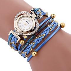 お買い得  レディース腕時計-女性用 ブレスレットウォッチ 中国 模造ダイヤモンド / カジュアルウォッチ PU バンド Heart Shape / Elegant ブラック / 白 / ブルー
