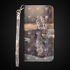 Недорогие Кейсы для iPhone 6 Plus-Кейс для Назначение Apple iPhone X / iPhone 8 Plus Кошелек / Защита от удара / со стендом Чехол Кот Твердый Кожа PU для iPhone X / iPhone 8 Pluss / iPhone 8