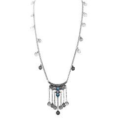 お買い得  ネックレス-女性用 ターコイズ ペンダントネックレス  -  ヴィンテージ, ファッション ブラック, ブルー 70+6 cm ネックレス 1個 用途 日常, デート
