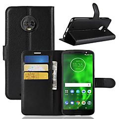 Недорогие Чехлы и кейсы для Motorola-Кейс для Назначение Motorola Moto G6 Play / MOTO G6 Бумажник для карт / Кошелек / Флип Чехол Однотонный Твердый Кожа PU для Moto Z2 play