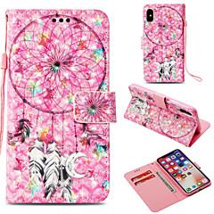 Недорогие Кейсы для iPhone X-Кейс для Назначение Apple iPhone X / iPhone 8 Plus Бумажник для карт / Кошелек / со стендом Чехол Ловец снов Твердый Кожа PU для iPhone X