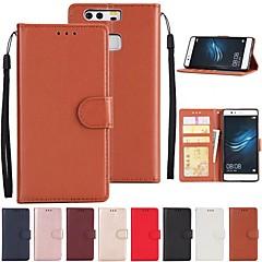 billige Nyheder-Etui Til Huawei P10 P9 Kortholder Med stativ Fuldt etui Ensfarvet Hårdt PU Læder for P10 Lite P10 Huawei P9 Plus Huawei P9 Lite Huawei P9