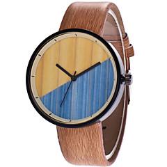 お買い得  レディース腕時計-男性用 / 女性用 リストウォッチ 中国 カジュアルウォッチ PU バンド ウッド / ファッション ブラウン / グレー