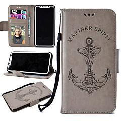 Недорогие Кейсы для iPhone 5-Кейс для Назначение Apple iPhone X / iPhone 8 Plus Бумажник для карт / Кошелек / со стендом Чехол Однотонный Твердый Кожа PU для iPhone X