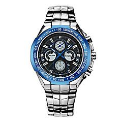 お買い得  メンズ腕時計-男性用 スポーツウォッチ クォーツ カレンダー ステンレス バンド ハンズ ぜいたく クール ブラック / シルバー - ブラック / ブルー ブラック / シルバー ホワイト / シルバー