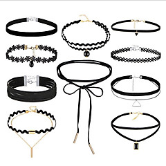 お買い得  ネックレス-女性用 多層式 レース チョーカー  -  ヴィンテージ / 多層式 円形 / 幾何学形 ブラック 36cm ネックレス 用途 贈り物 / ストリート
