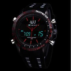 お買い得  メンズ腕時計-ASJ 男性用 スポーツウォッチ 日本産 アラーム カレンダー 光る PU バンド アナログ/デジタル ぜいたく ブラック - ホワイト レッド ブルー 1年間 電池寿命 / ストップウォッチ / SSUO 377