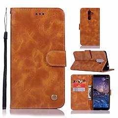 Недорогие Чехлы и кейсы для Nokia-Кейс для Назначение Nokia Nokia 7 Plus Кошелек / Бумажник для карт / со стендом Чехол Однотонный Твердый Кожа PU для Nokia 7 Plus