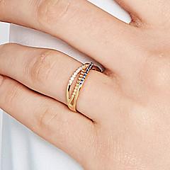 preiswerte Ringe-Damen Kubikzirkonia Bandring / Ewigkeitsring - S925 Sterling Silber Welle Zierlich, Einfach, Klassisch 8 Gold Für Alltag / Festtage