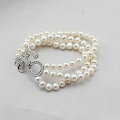 preiswerte Armbänder-Damen Perle Süßwasserperle Wickelarmbänder - versilbert, Süßwasserperle damas, Klassisch, Modisch, Elegant Armbänder Schmuck Weiß Für Party Geschenk