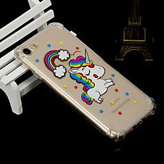 Недорогие Кейсы для iPhone 5-Кейс для Назначение Apple iPhone X iPhone 8 Защита от удара Полупрозрачный Кейс на заднюю панель единорогом Животное Мягкий ТПУ для