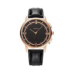 お買い得  メンズ腕時計-YAZOLE 男性用 クォーツ リストウォッチ 中国 耐水 レザー バンド ミニマリスト ブラック ブラウン
